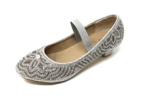 ✅ Top Fille paillettes strass princesse paragraphe Chaussures A Talons Escarpins Baptême Taille 31-36