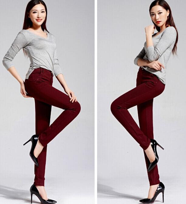 Women's trousers classic cigarette colour wine color red cod. 6017