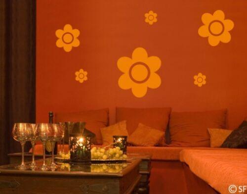 Wandtattoo Wandsticker Blumen Mix Blüten 6 Stück Wohnzimmer Schlafzimmer uss197R