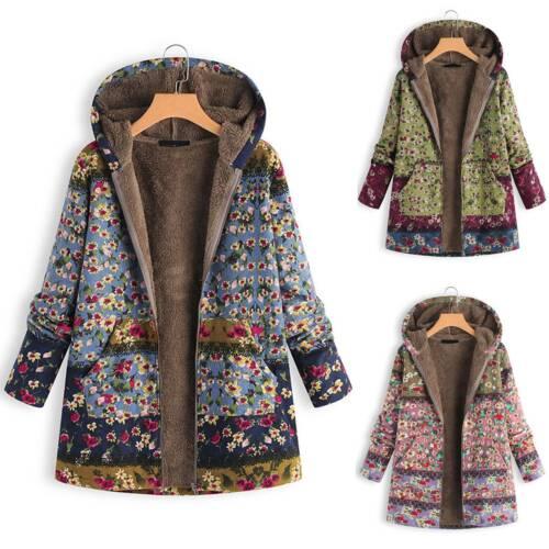 Frauen Hoodies Kapuzenjacke Mit Kapuze Blumen Winter Warme Mode Langarm Mantel