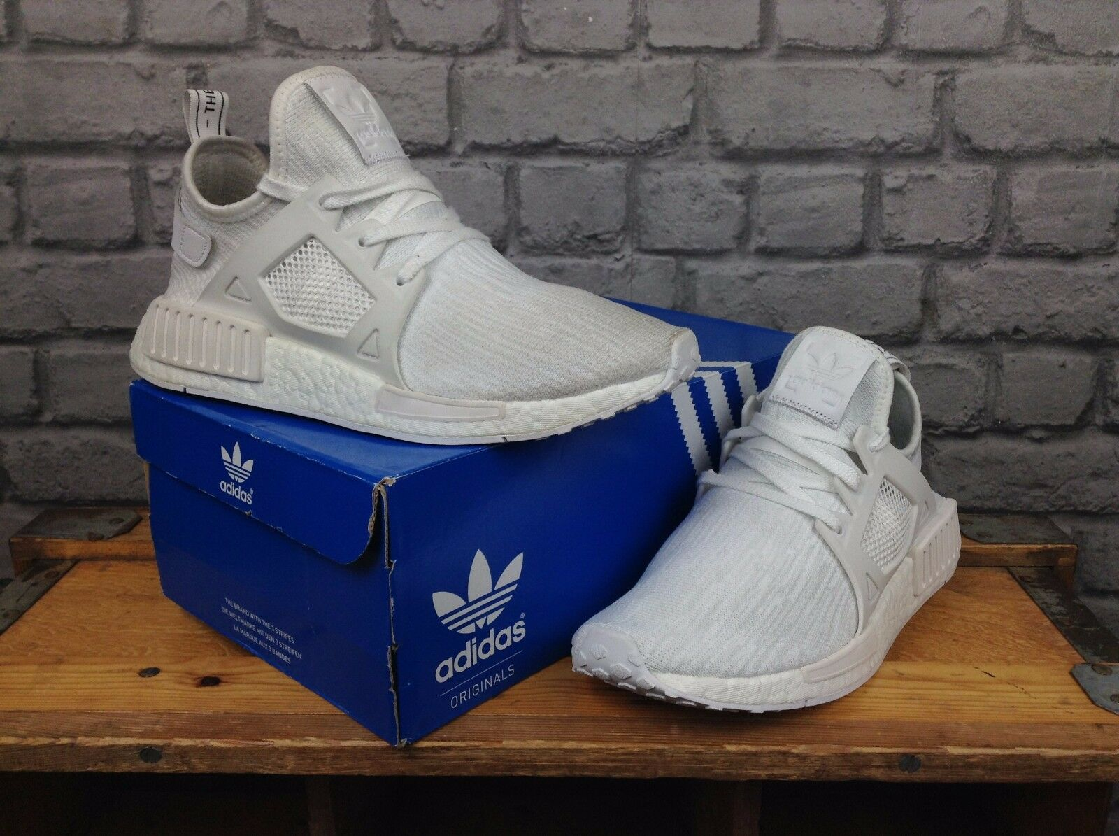 ADIDAS MENS TRIPLE WHITE NMD XR1 BOOST TRAINERS RRP £120 PRIME KNIT