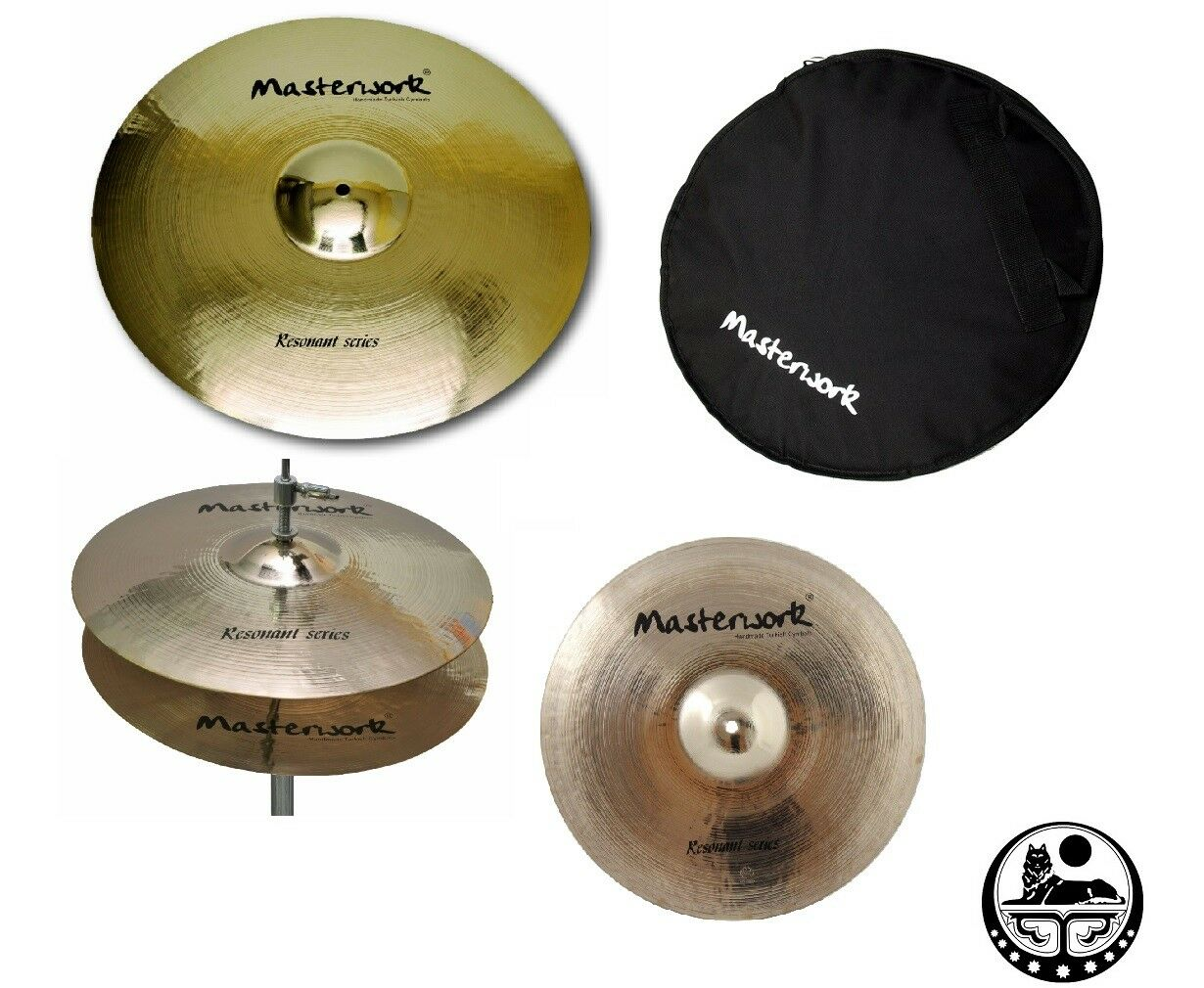 Masterwork Cymbals Resonant Cymbal Pack Box Set (14HH-16CRS-20R Tasche)