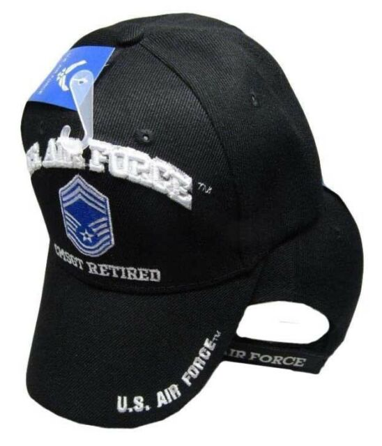 U.S. Air Force CMSGT Retired Black USAF Embroidered Ball Cap Hat CAP540A  (TOPW) 35731ed77c89