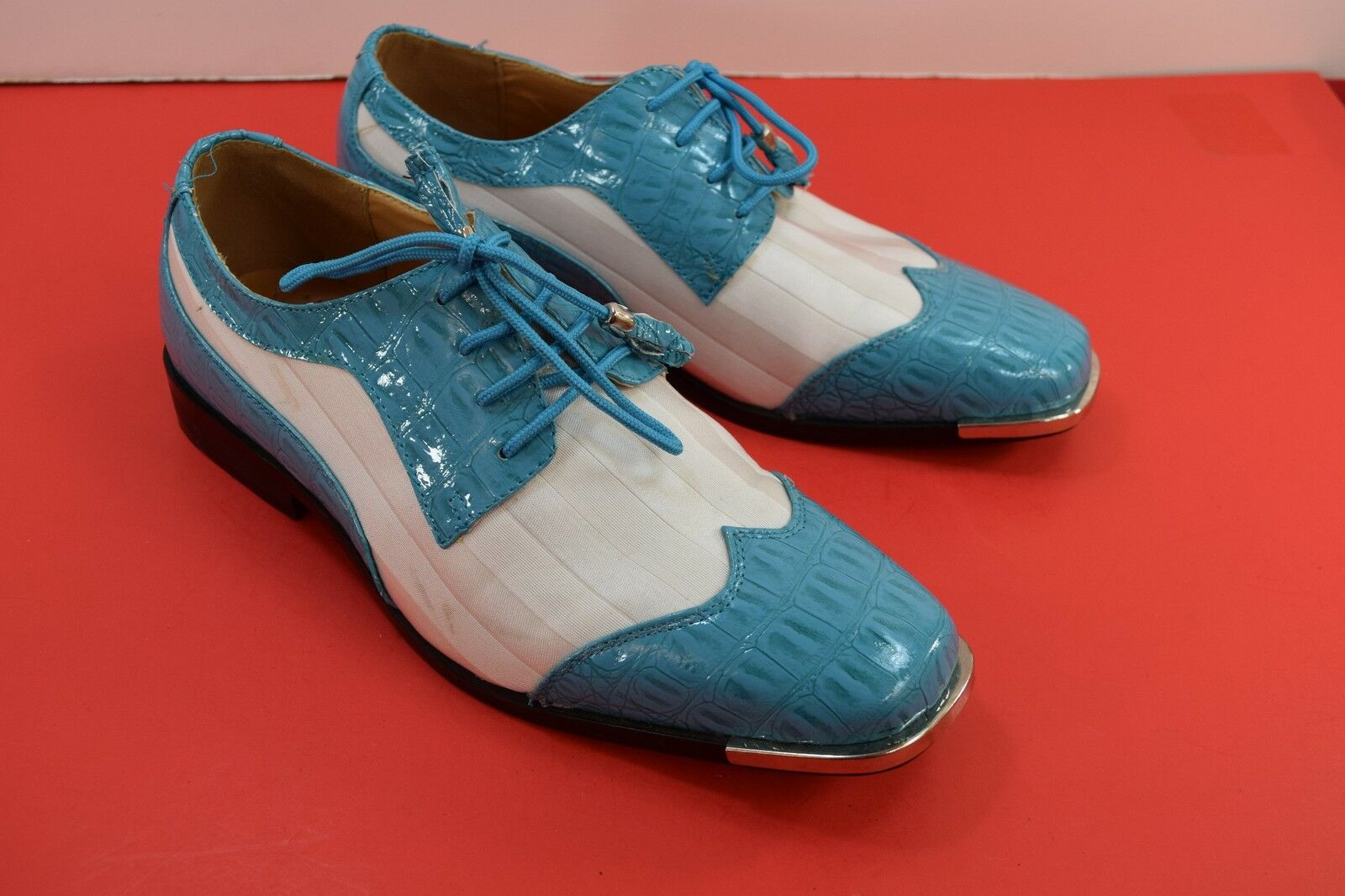 Expressions Satin EX6345 Men's Turquoise White Faux Satin Expressions Striped  SIZE 9 92d07e