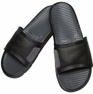 uk availability 70cb8 b2c79 Image is loading Nike-Benassi-Solarsoft-Slide-431884-001-Black-Dark-