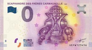 Billet Touristique 0 Euro - Scaphandre Des Frères Carmagnolle - 2016-2 - Epuise Pour Assurer Une Transmission En Douceur