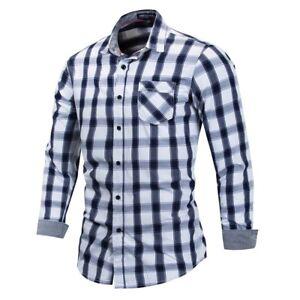 New-Mens-Casual-Long-Sleeves-Formal-Denim-Cotton-Plaids-Checks-Shirts-MA6457