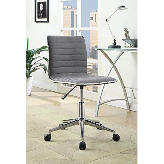 Coaster 800727 Sleek Office Chair Chrome Base Grey Fabric Upholstery Ebay