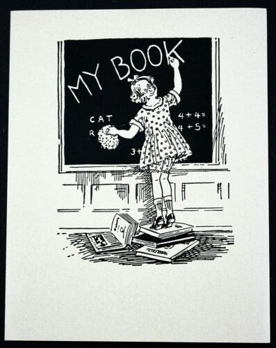 Vintage Antique Etchcraft Bookplate 1930s//40s RARE Child and Chalkboard