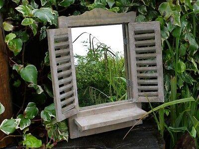 Shabby Chic Garden Mirror Window Vintage French country Vintage Brown Wash shelf