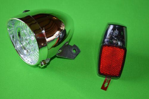 Nostalgie Scheinwerfer Fahrrad Licht LED Chrom Lampe Retro Lampe Hollandrad.