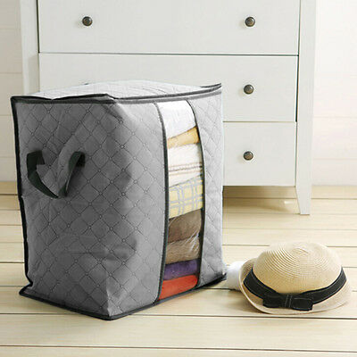 Bamboo Charcoal Folding Organizer Clothes Sweater Blanket Closet Storage Bag Box
