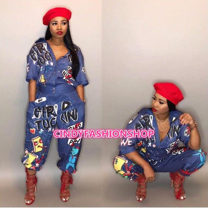 Women Streetwear Letter Turn Down Collar Short Sleeve Hip Hop Style Jumpsuit J8