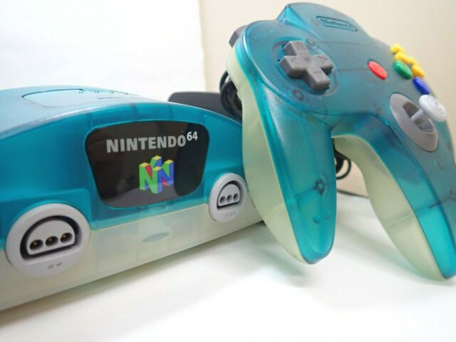 """Nintendo 64 N64 Console System """" Region Free"""" Ice clear Blue Console Rare color"""