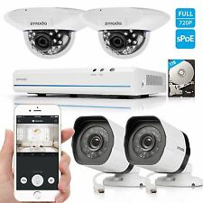Zmodo 1080p 4CH PoE NVR Security System with 4 720p HD IP Network Cameras 1TB