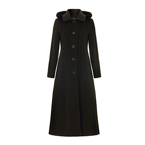 De La Crème - Single Breasted Detachable Fur Hood Wool Winter Coat