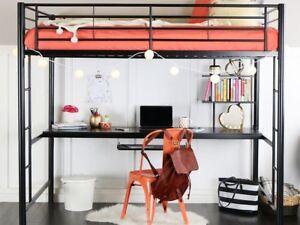 Details about Walker Edison Full Size Metal Loft Bed with Workstation in  Black, BDOZBL New