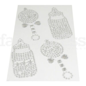 Silver-Rattle-Bottle-Gem-Stickers-New-Baby-Craft-Card-Making-Scrapbook-Peel-Off