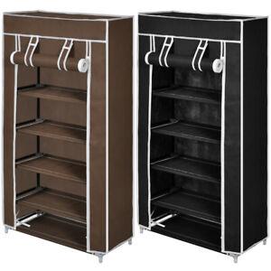 10-Pair-5-Tier-Shoe-Rack-Tower-Portable-Storage-Organizer-w-Shelf-Black-Brown