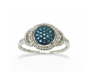 10K-White-Gold-Blue-amp-White-Diamond-Ring-Round-Diamond-Cluster-Band-25ct