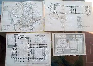 1877-LOTTO-DI-4-PIANTINE-DI-ROMA-CON-MONUMENTI-E-BASILICHE-TAVOLE-BAEDEKER