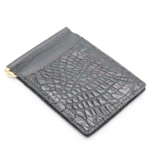 Crocodile en Cuir Men/'s Money Clip ventre Portefeuille en cuir couleur noire #WD2109