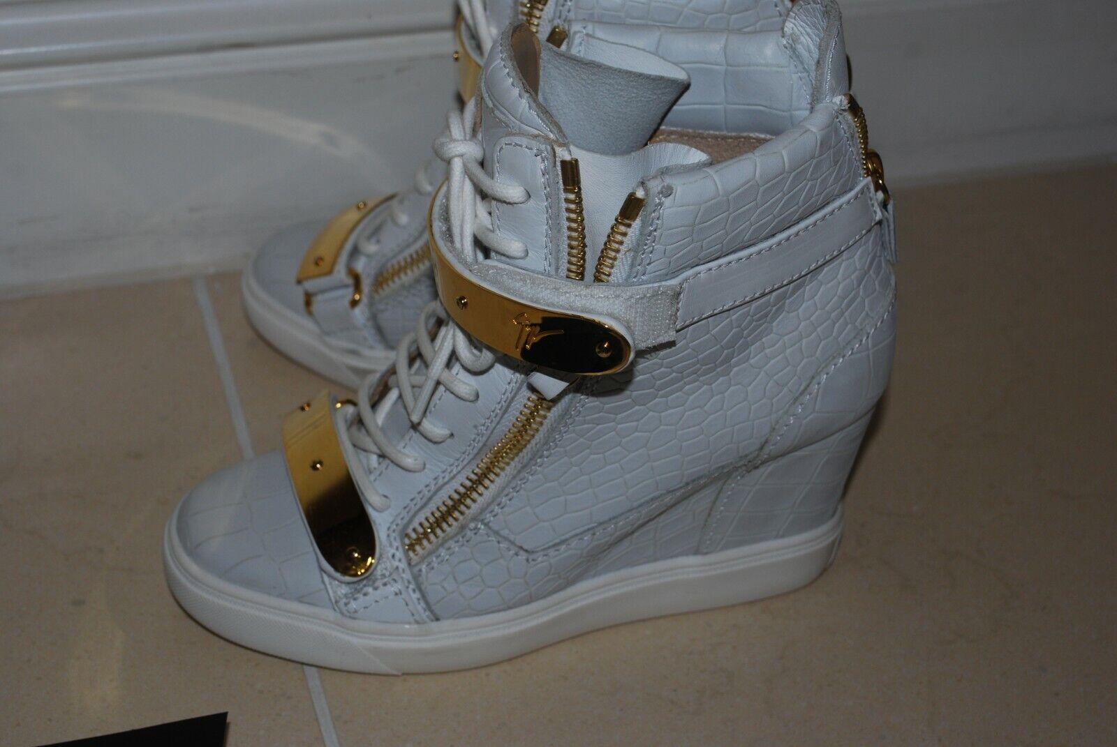 100% 100% 100% Original Giuseppe Zanotti Para Mujer Cuña Zapatillas UK 4 euro 36 con recibo adb1a3