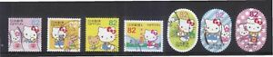 JAPAN-2015-GREETINGS-HELLO-KITTY-TOKYO-EDITION-82-YEN-COMP-SET-7-STAMPS-USED