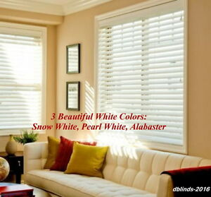 2-FAUXWOOD-WINDOW-BLINDS-SIZE-33-5-WIDTH-x-85-to-96-LENGTH-WHITE-COLORS