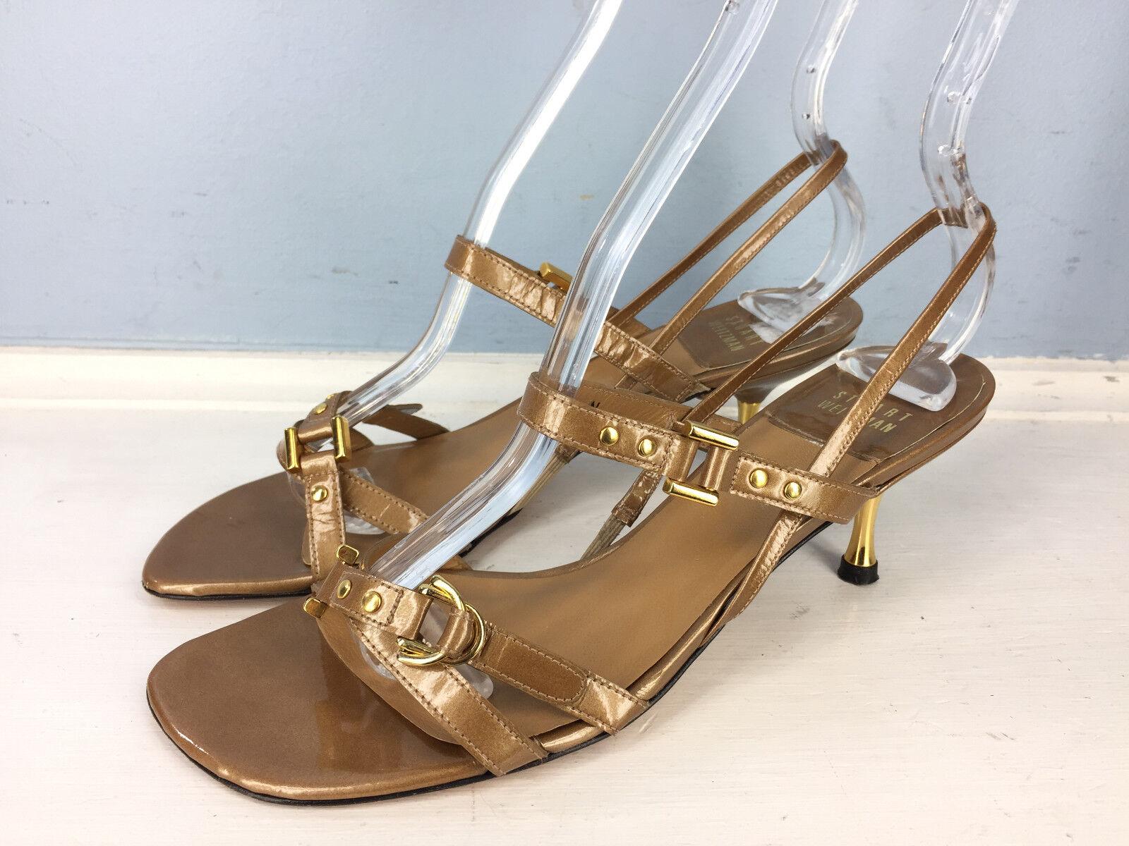 Stuart Weitzman Brown gold Patent Leather Strappy Low kitten Heel Slingback 6.5