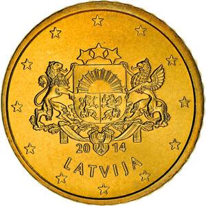 [#381338] Latvia, 50 Euro Cent, 2014, Stuttgart, SUP+, Laiton, KM:155