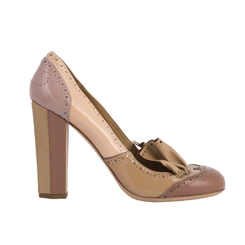 53063 Auth Miu Miu Miu Miu Beige Nude rosado Charol Borgues Zapatos De Salón 41  gran venta