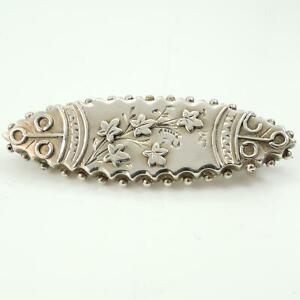 Victorian-Antique-Silver-Bar-Brooch-Pin-Birmingham-1888