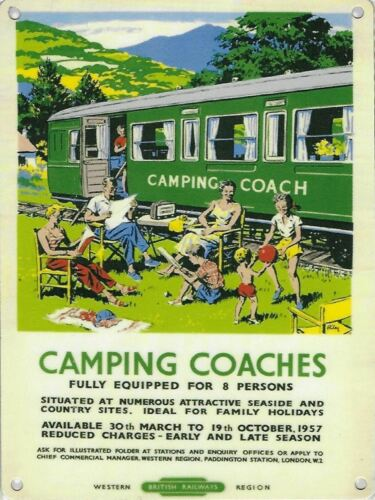Camping Coach railway train advertising sign 20x30cm reproduction metal plaque