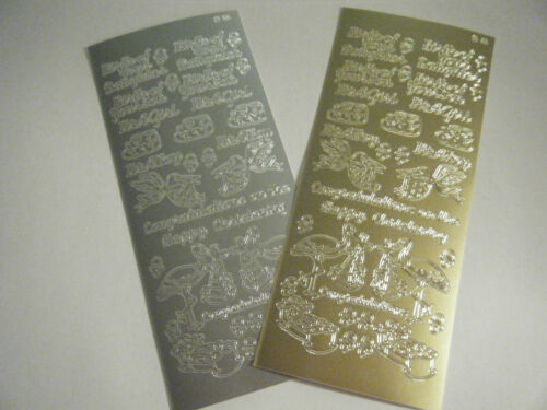 2 sheets Peel off Stickers BABY CHRISTENING  1 Silver /& 1 Gold BIRTH