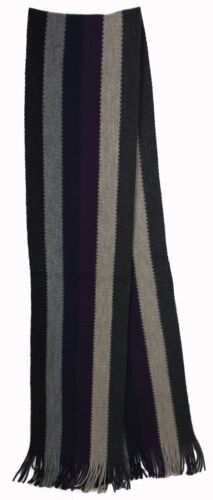 Messieurs écharpe écharpe en Tricot De 100/% merino laine à franges noir//gris rayé