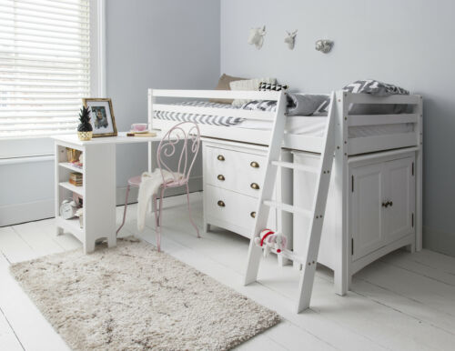Superbe Cabin Bed Midsleeper Sleepstation With Chest Of Drawers Cabinet Desk Kids  White | EBay