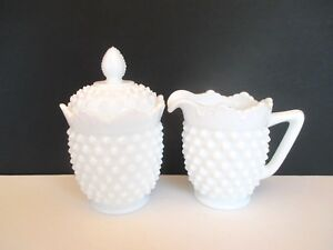 Fenton-Milk-Glass-Hobnail-Creamer-and-Lidded-Sugar-Bowl