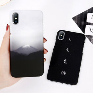 For iPhone X 8 6 7 XS XR Slim Matte Shockproof Mount & Moon Hard Back Case Cover