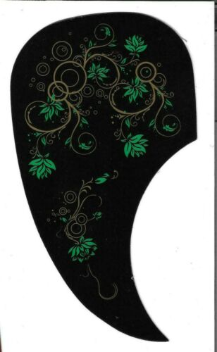 Black w//Green Lilys Martin Style Pick Guard  for Steel String Acoustic Guitar