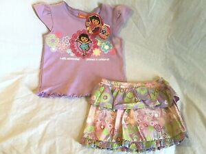 DORA-THE-EXPLORER-Girl-039-s-2-Piece-Embroidered-Purple-Floral-Skort-Outfit-2T-NWT