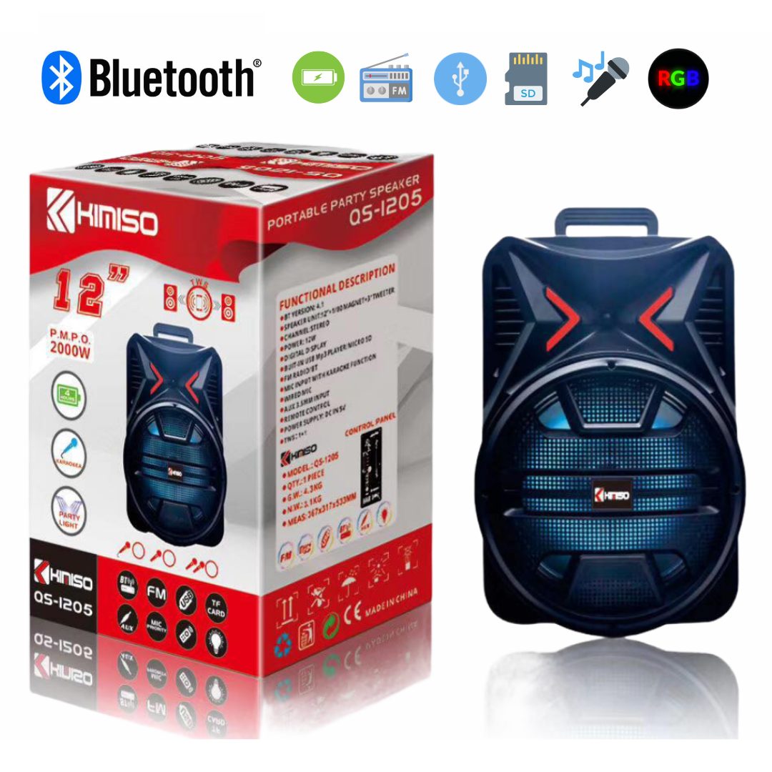 Cash Bluetooth 150w RMS Portable Rechargeable Battery trolley Super Bass + Mic