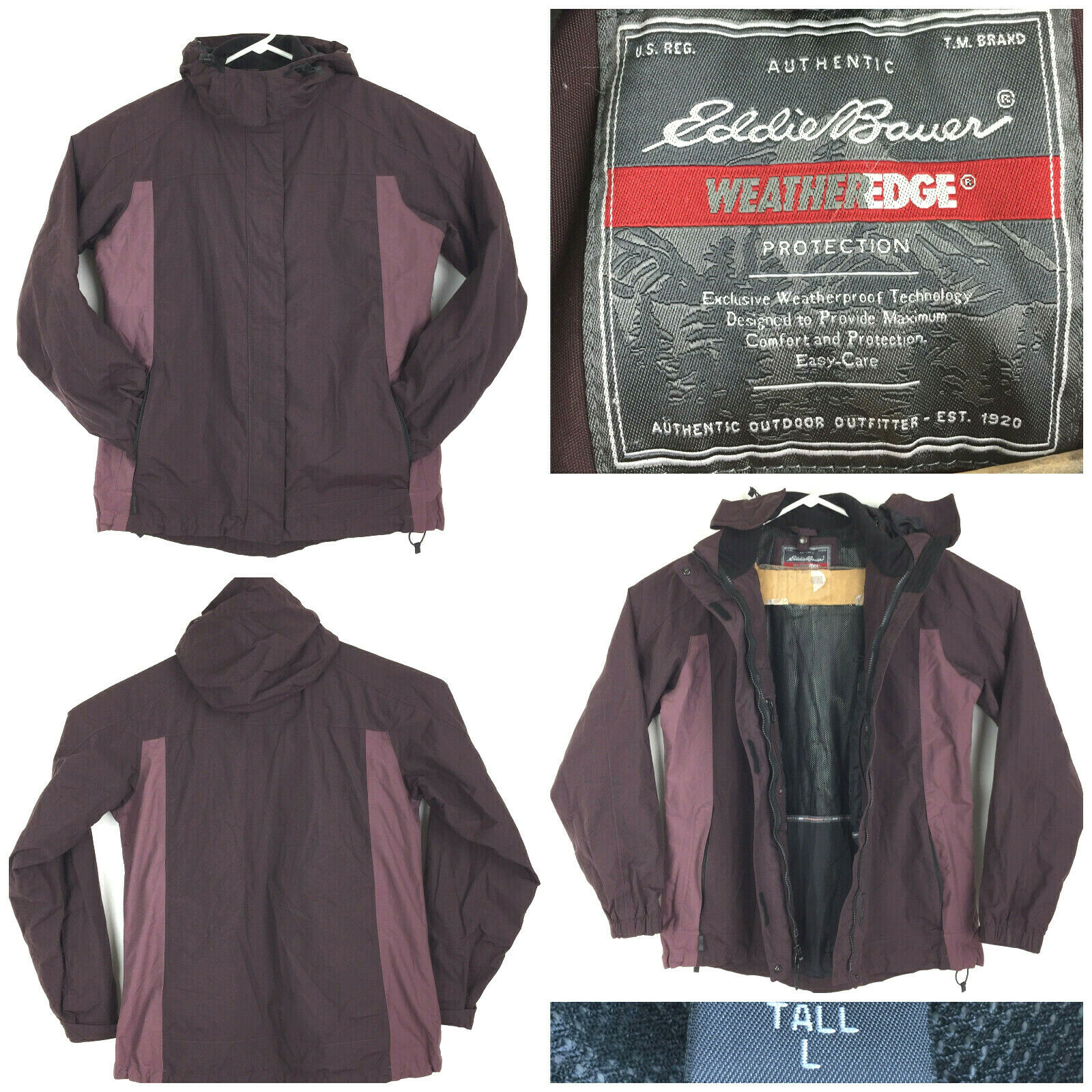 Eddie Bauer Womens Large Tall (45 in Bust) Purple Hooded 3-in-1 Snow Ski Jacket