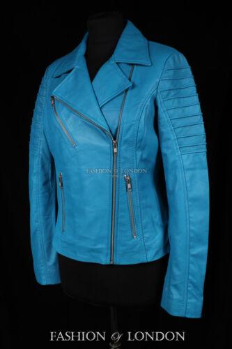 di Giacca Jenner agnello moto pelle in Blue da Light donna morbida modello da Xr6PwXq