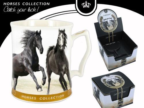 Geschenk Karton Becher 400ml Horses Pferd Motiv 5403 Pferde Tasse