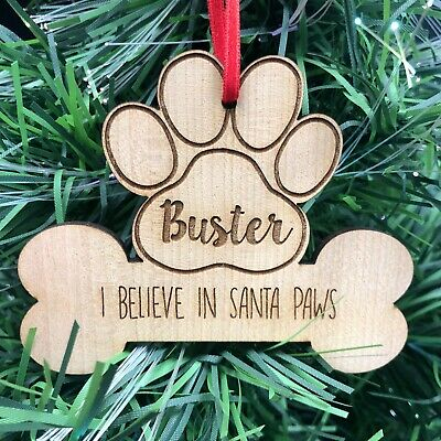 PERSONALISED CHRISTMAS XMAS BAUBLE DOG PUPPY TREE HANGER PRESENTWITH RIBBON