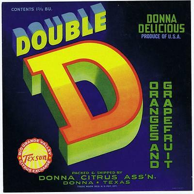 Donna Citrus Ass'n Texas Possessing Chinese Flavors Nice Double D Orange And Grapefruit Vintage Crate Label