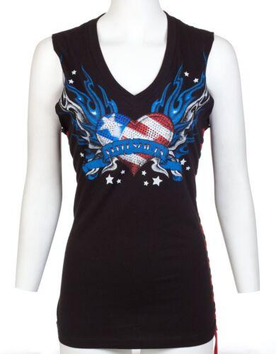 Rebel Saints AFFLICTION Women SLEEVELESS T-Shirt USA FLAG Wings Biker Sinful $40