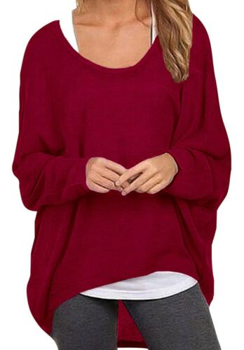 Femmes solides en vrac Irrégulière Manches Longues Baggy Pull Casual Tops Chemisier T-Shirt