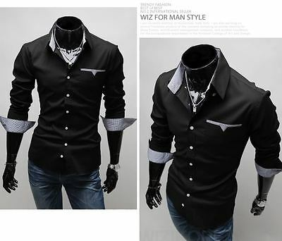 ST83 New Mens Luxury Casual Slim Fit Stylish Dress Shirts 3 Colors